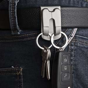 Keyring Security Keychain Key-Accessories Belt Clip-On Heavy-Duty Stainless-Steel 1pc