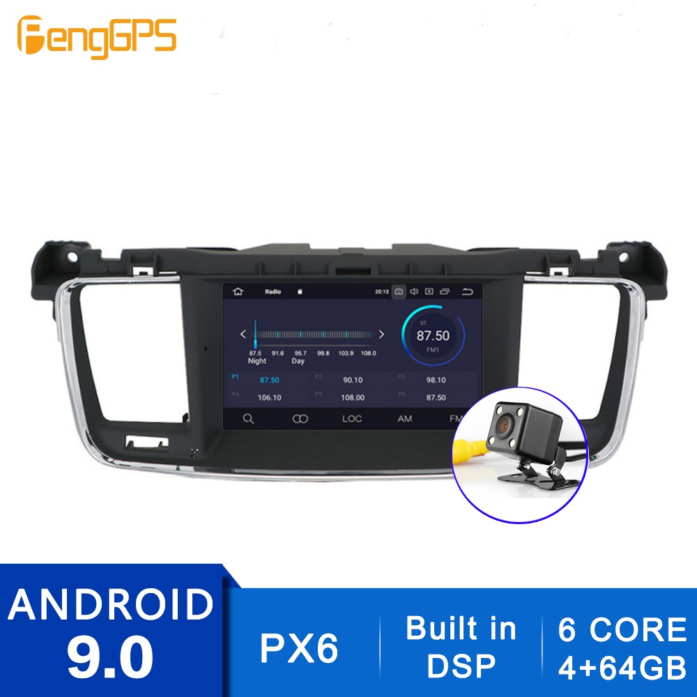 Android 10.0/9.0 HD Radio For Peugeot 508 2011-2014 Built-in DSP GPS Navigation CD DVD Player Bluetooth Multimedia Headunit