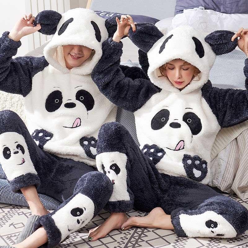 Unisex Adult Couple Pajamas Men Winter Velvet Sleepwear 2 Pieces Warm Flannel Pajama Set Animal Cartoon Cute Hooded Home Clothes