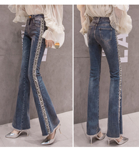 2019 New Sexy High Waist Elastic Stretch Slim Flared Pants Jeans Women Trouser Embroidery Autumn