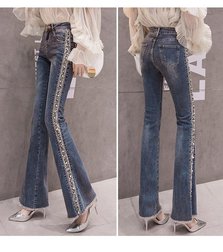 2019 nuevo Sexy cintura alta elástico pantalones acampanados pantalones vaqueros Mujer Pantalones bordados otoño