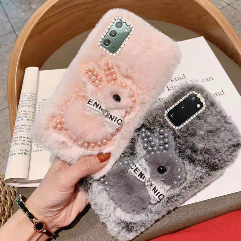 For Samsung Galaxy Note 20 Plush Rabbit Diamond Phone Case Note 10 S21 Plus Ultra S20 S10 A52 Luxury Cute Bunny Protective Cover