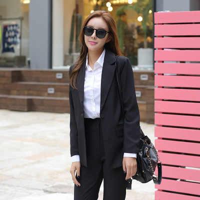 新ファッションスリムビジネスエレガントな女性オフィス Ol ジャケットセット正式なブレザー + パンツスーツ Feminino 女性 PV12