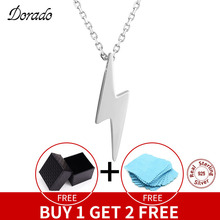 цена Dorado 925 Sterling Silver Necklaces Golden Silver Lightning Pendant Necklaces Fine Jewelry Gift Birthday  For Women онлайн в 2017 году