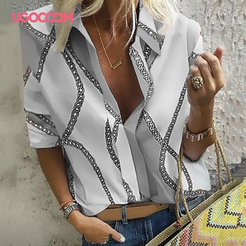 UGOCCAM Women Blouse Long Sleeve Shirt Print Office Turn-down Collar Blouse Elegant Work Plus Size Tops Fashion Women Tops 4