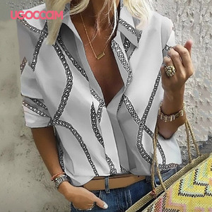 Женская блузка с длинным рукавом UGOCCAM, офисная блузка с отложным воротником и принтом, элегантные топы для работы размера плюс, модные женские топы