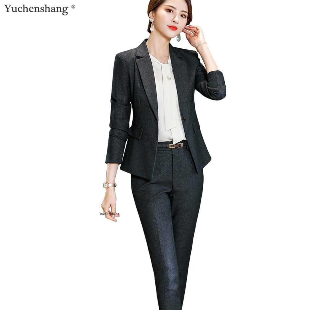 Elegant Women Pant Suit Set Fashion Solid Suit Jackets And Trousers 2 Piece Sets For Office Lady Business Hotel Interview Wear