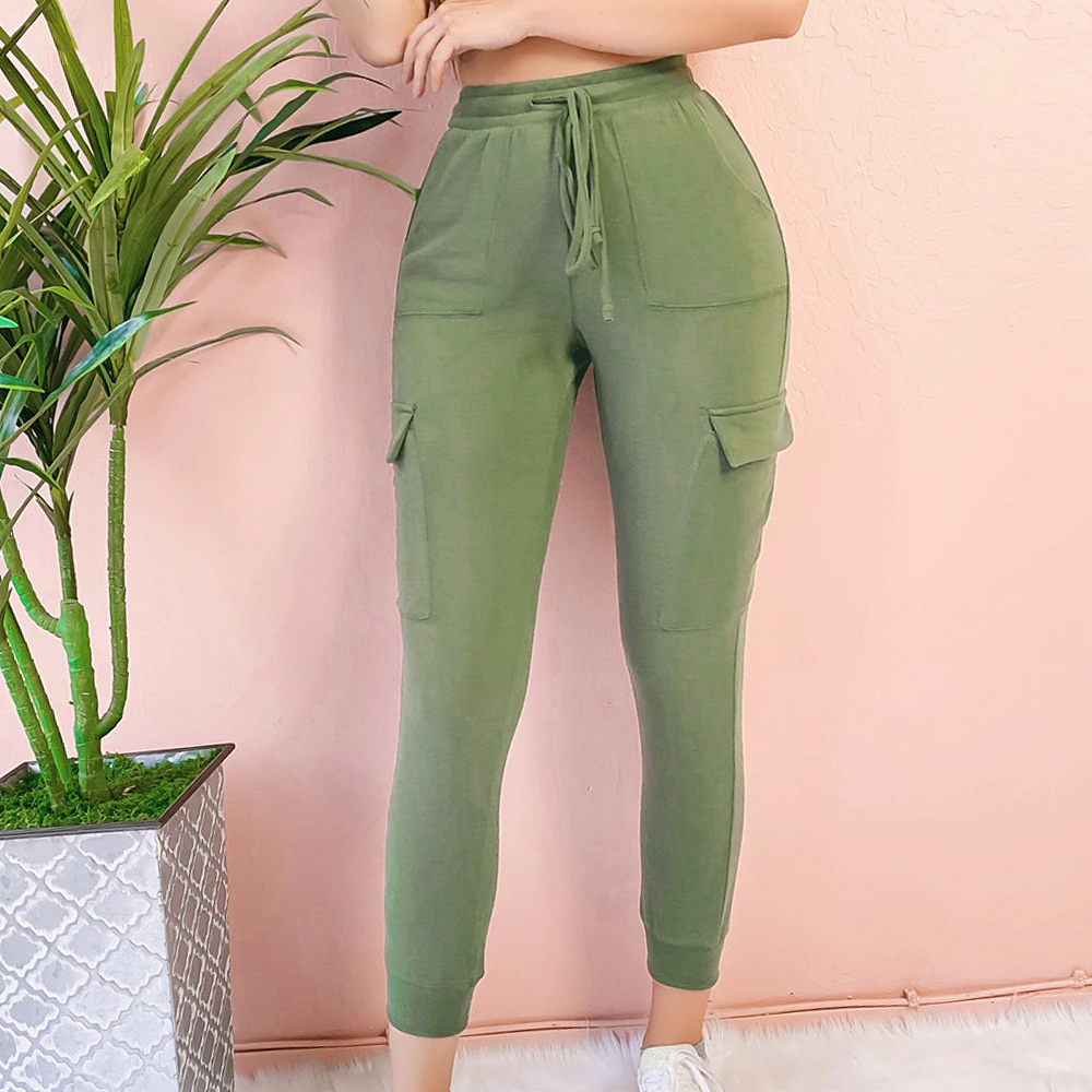 Sexy Women Pants Fitness Solid Trousers Casual Female Multi-Pockets Drawstring Tie Trousers Slight Jogger Pencil Pants Oversized