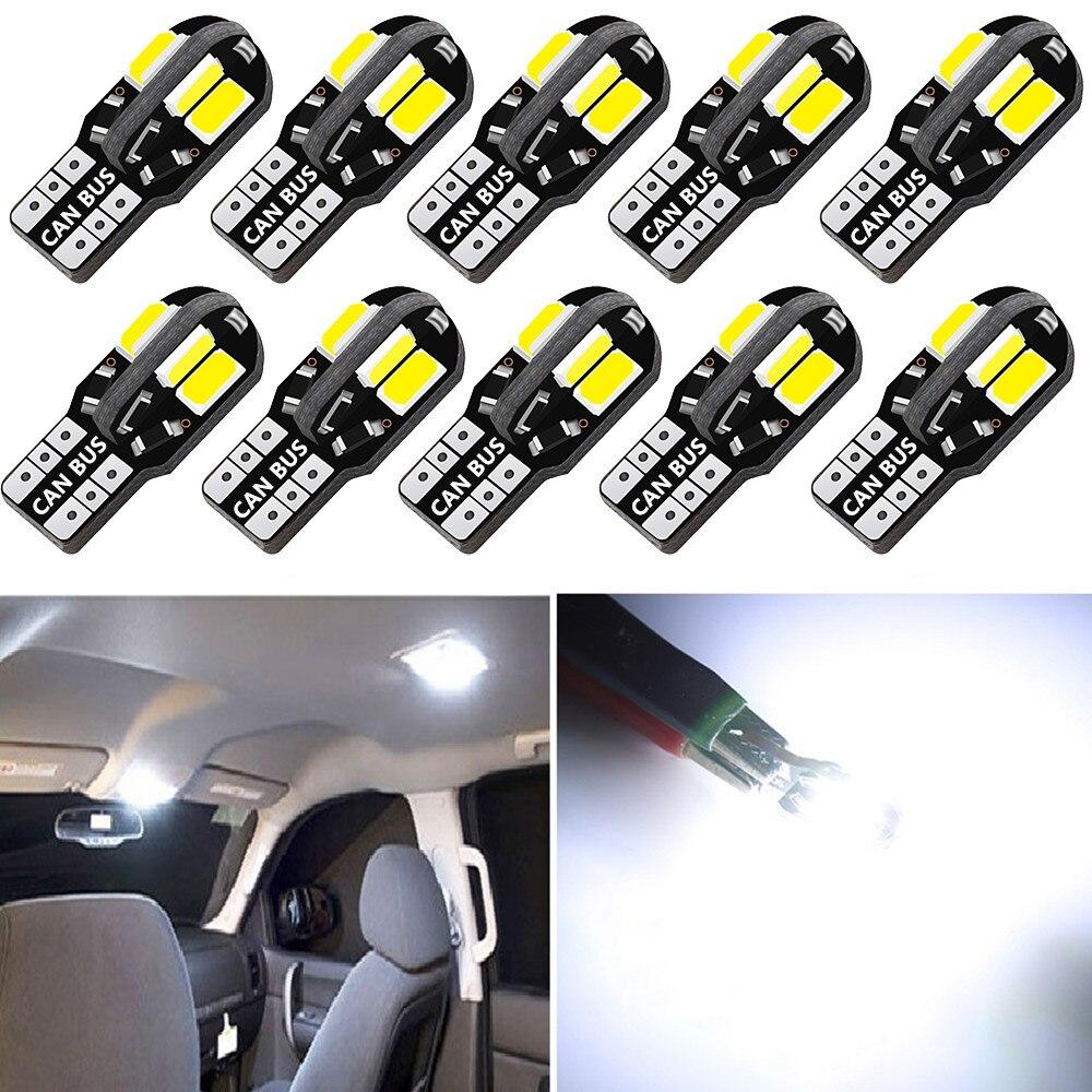 10 шт. T10 Led Canbus лампочка для салона автомобиля Canbus для автомобильных ламп купольный светильник авто, на танкетке, с боковой номерной знак свет...
