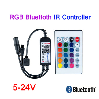 DC 5V 12V 24V Bluetooth LED RGB controller With 24Key IR Led Controller 12v Remote Control For 5630 5050 3528 2835 LED Strip 12v 24v relay harness control cable for h4 hi lo hid bulbs wiring controller