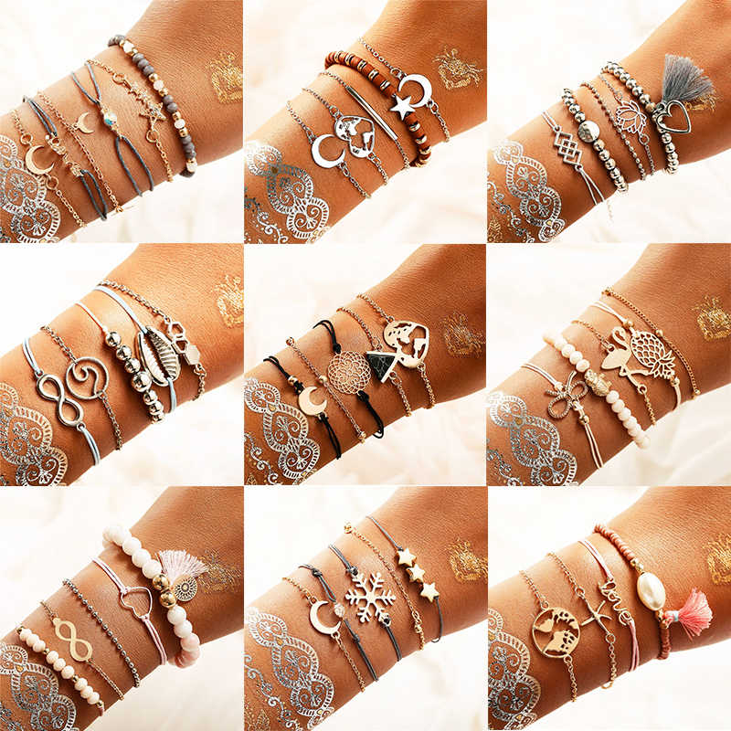 IF ME Charm Vintage Stone Beads DIY Bracelet Set for Women Shell Infinity Star Moon Map Fashion Female Armband Jewelry 2019 NEW