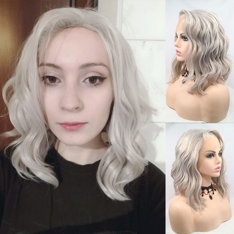 Fantasy Beauty Heat Resistant Fiber Silver Grey Synthetic Bob Cut Lace Front Short Gray Wigs For Women Replacement Wigs