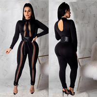Mesh Sexy Black Bodysuit Women Long Sleeve Perspective Bodycon Jumpsuit Casual O Neck Night Club Party Rompers Clubwear DT1117