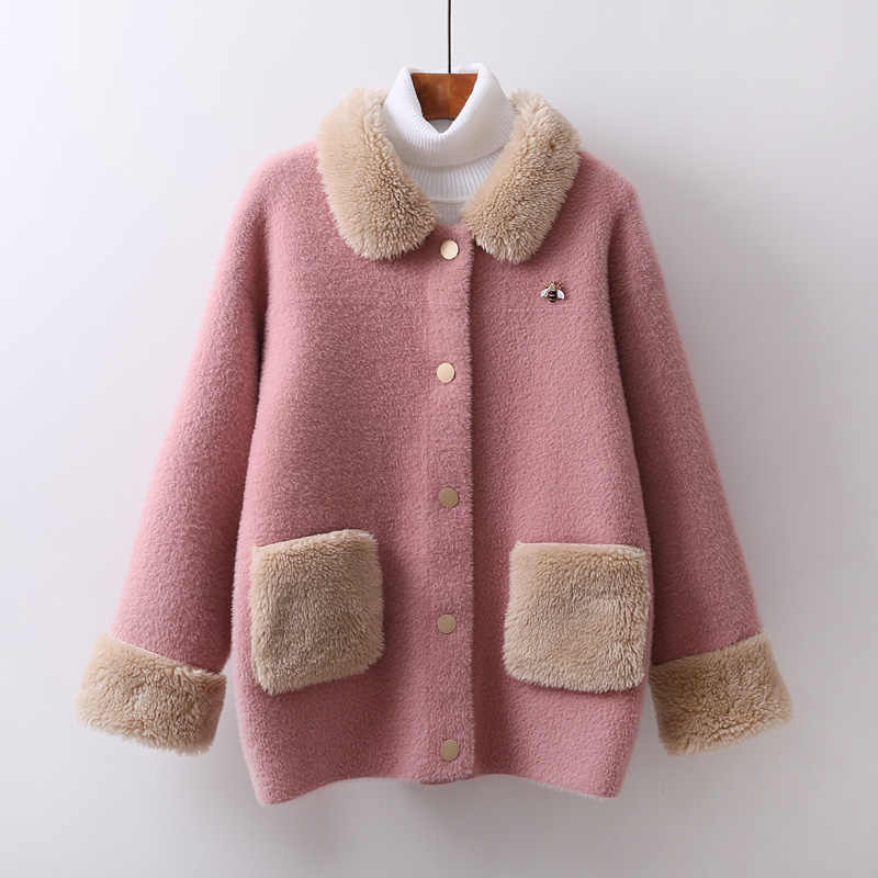 Autumn Winter Women Sweater Faux Mink Cardigan Jacket Coat Fashion Thick Warm Cardigans Knitting Sweaters Jumpers High quality