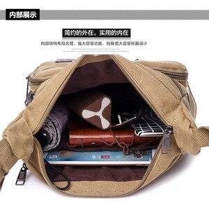 Image 4 - Omuzdan askili çanta tuval Crossbody paketi büyük kapasiteli çok cep çanta askılı çanta serin tuval rahat seyahat okul çantaları