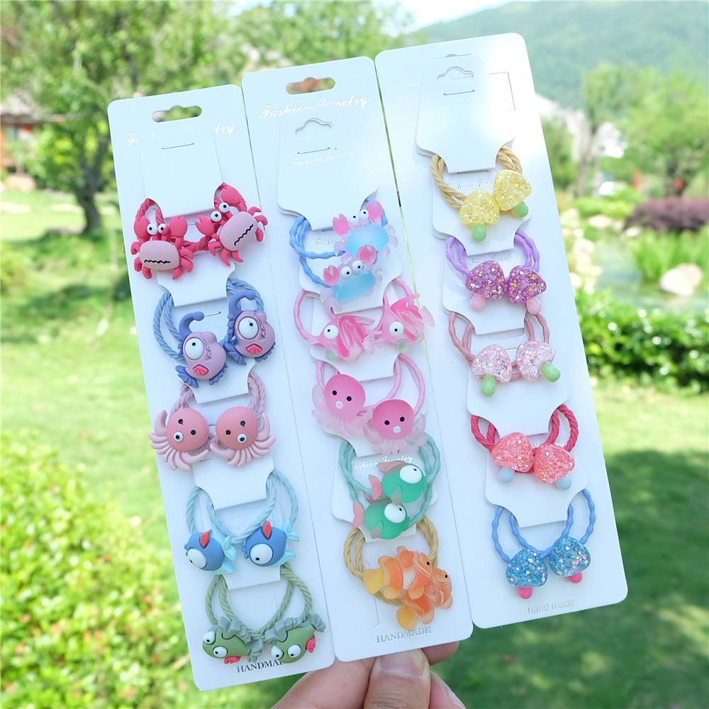 10Pcs/set kids Cartoon Animal Hair Ropes Fashion Headwear Ponytail Holder Rubber Bands For Girls Baby Children Hair Accessories