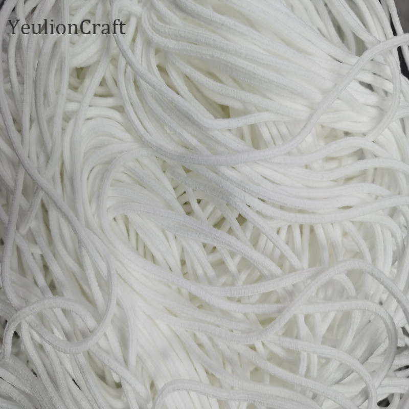 YeulionCraft Soft Elastic Band Rope Rubber Band Tape Ear Hanging Round Rope Cord 0.3cm For DIY Clothing Crafts