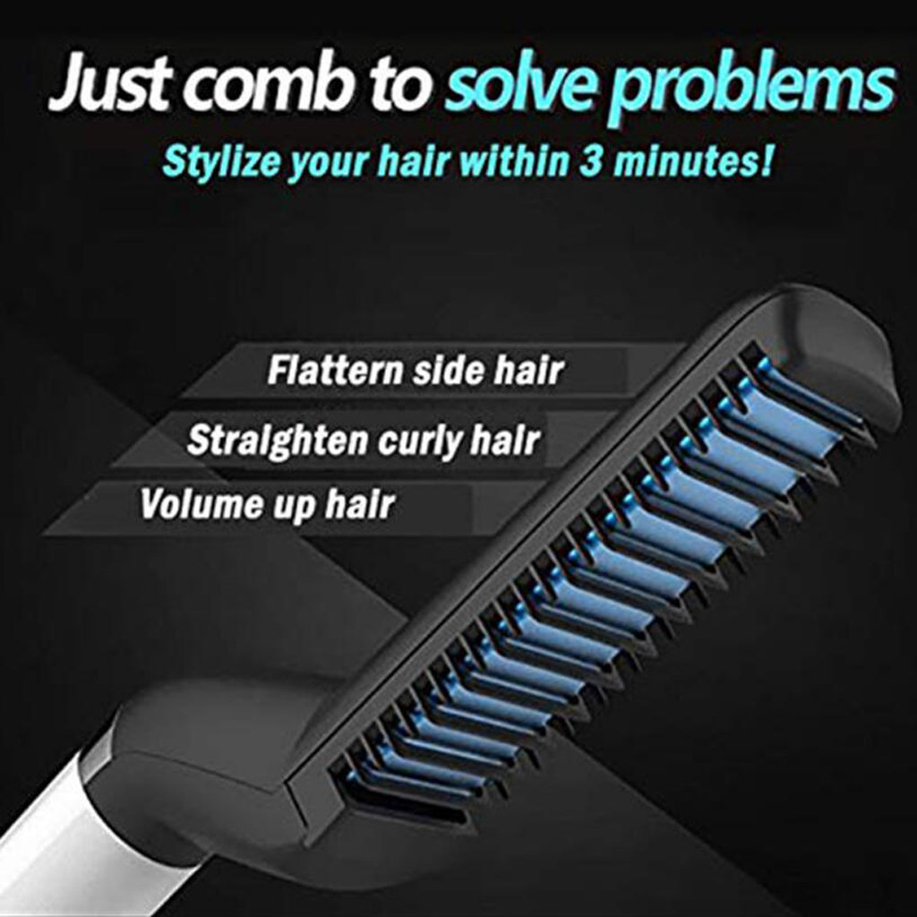 Men Hair Curler Comb Curling Quick Electric Heating Hair Brush EU Plug  flatten side hair & straighten curly hair
