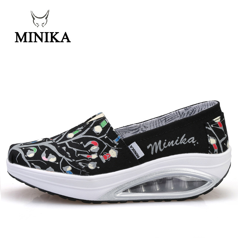2019 Minika Swing Shoes Canvas Breathable Ladies Trainers Wedges Chaussure Femme Sport Platform Shoes For Women Zapatos Mujer