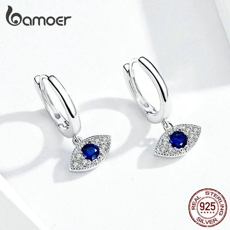 bamoer Silver 925 Jewelry Blue Eye Drop Earrings for Women Wedding Statement Protection Fashion Jewelry Bijoux Oreilles BSE274