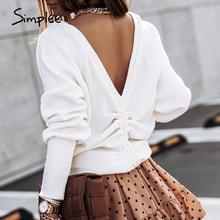 Simplee Casual loose sznurkiem sweter bez pleców biała bluza z długim rękawem Fashion street wiosenne jesienne ubrania damskie 2020