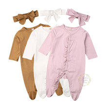 0-12M Newborn Infant Baby Boy Girl Ruffles Romper Long Sleeve Soft Jumpsuit Autumn Spring Solid Costumes Clothes