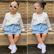 Ropa para niñas y bebés de manga larga con volantes blusa Top + Mini Falda vaquera Conjuntos Bebé conjunto bebebek Giyim Vetement enfant Fille
