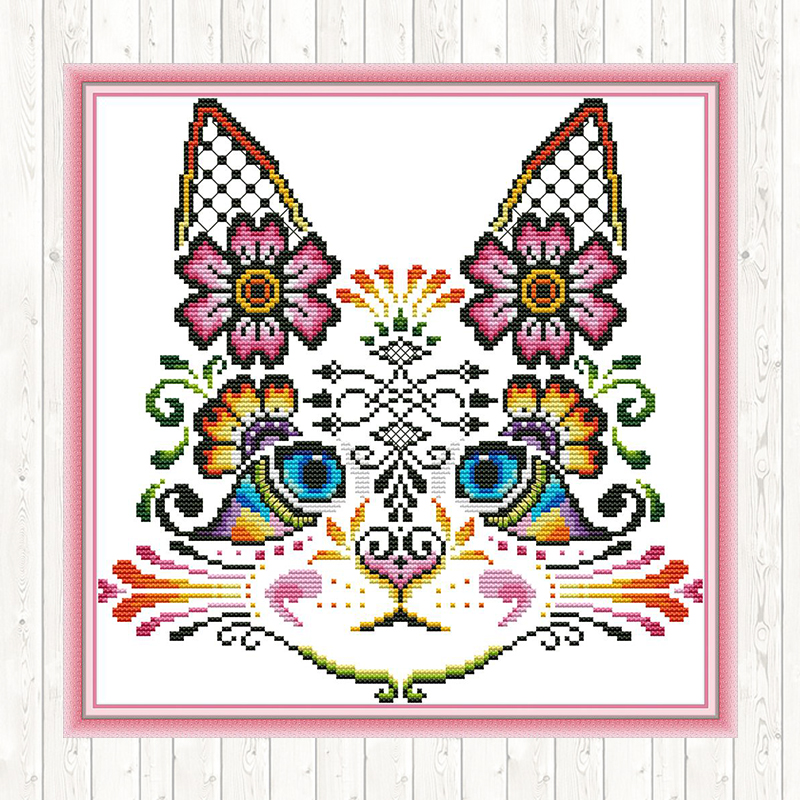 Counted Cross Stitch Kit Cross-Stitch Hand Embroidery Kit Cat  in There