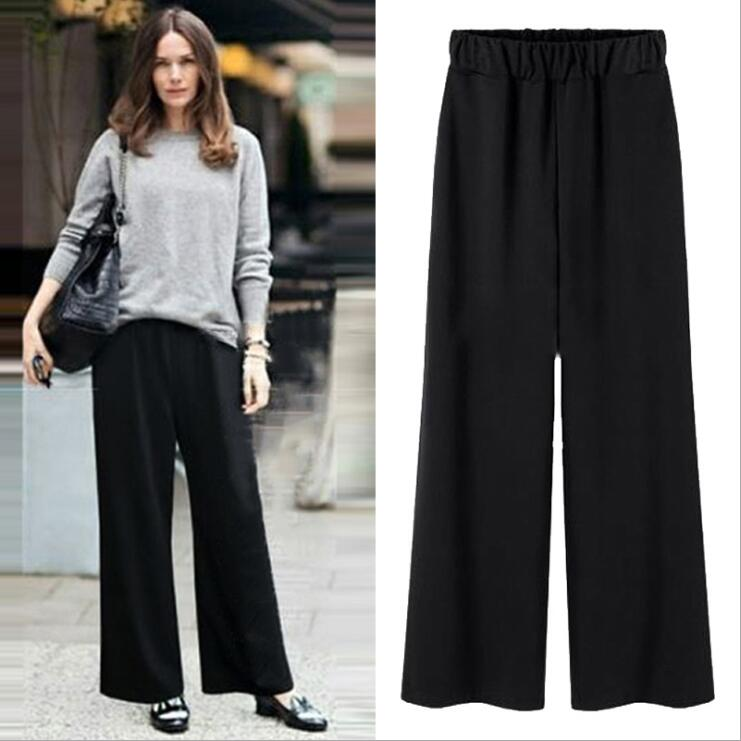 Summer And Autumn Winter Lady Women Clothing Plus Size Casual Elastic Waist Wide Leg Loose Long Pants X001