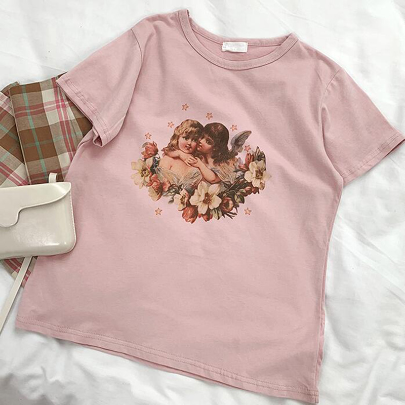 New-Harajuku-Aesthetics-Female-Tshirt-Pink-Angel-Print-Short-Sleeve-Tops-Tees-Fashion-Casual-T-Shirt