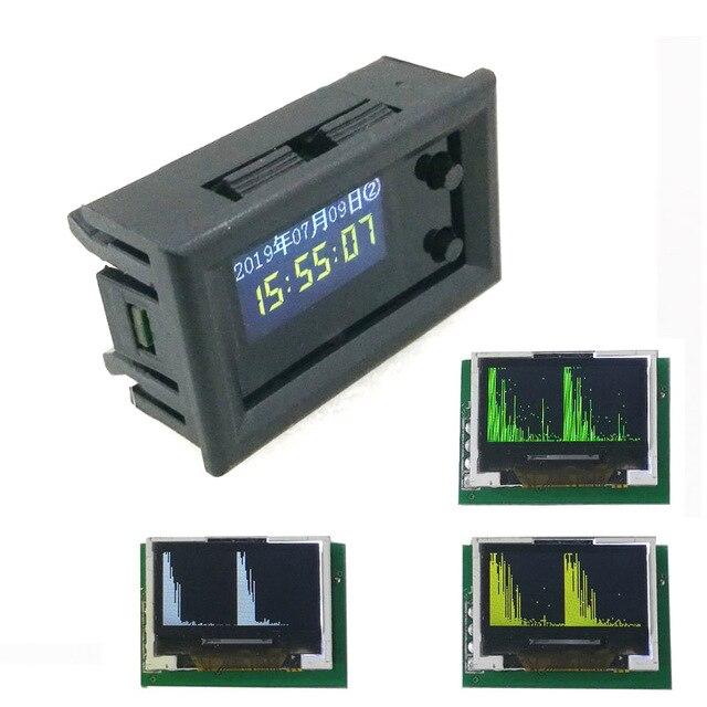 0.96 inch OLED Music Spectrum Display Analyzer W/ CLOCK MP3 Amplifier Audio Level Indicator rhythm Analyzer VU METER dc 5v  12v