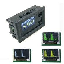 Analisador de espectro de música oled 0.96 polegadas, com relógio, amplificador de áudio e ritmo mp3, medidor dc 5v  12v