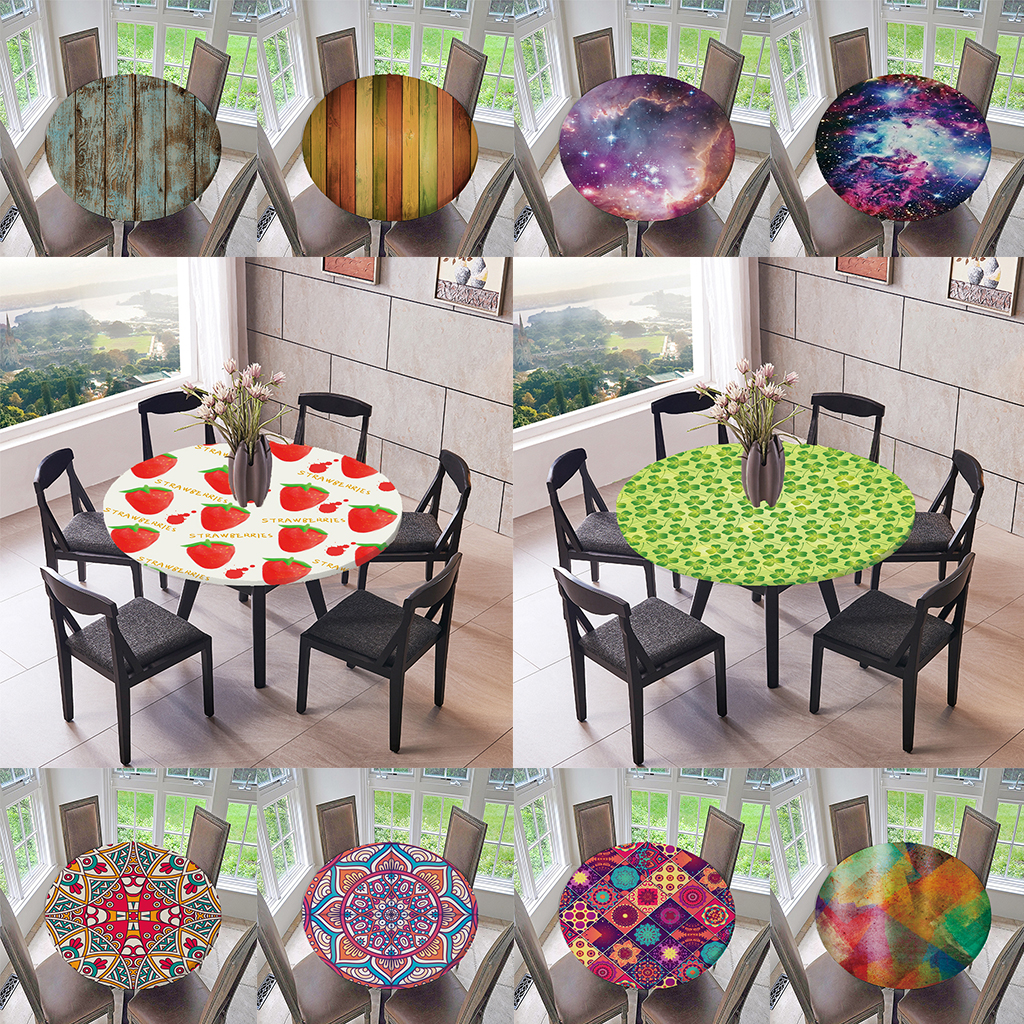 Elastic Edged Waterproof Backed Fitted Table Cover Tablecloths Kitchen Decor, Fits For 47 Inch Round Tables Polyester Tablecloth