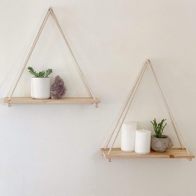 Nordic Style Twine Wooden Wall Shelf Flower Pot Hanging Rack Home Decor Storage Rack Room Storage Organization Swing Shelf