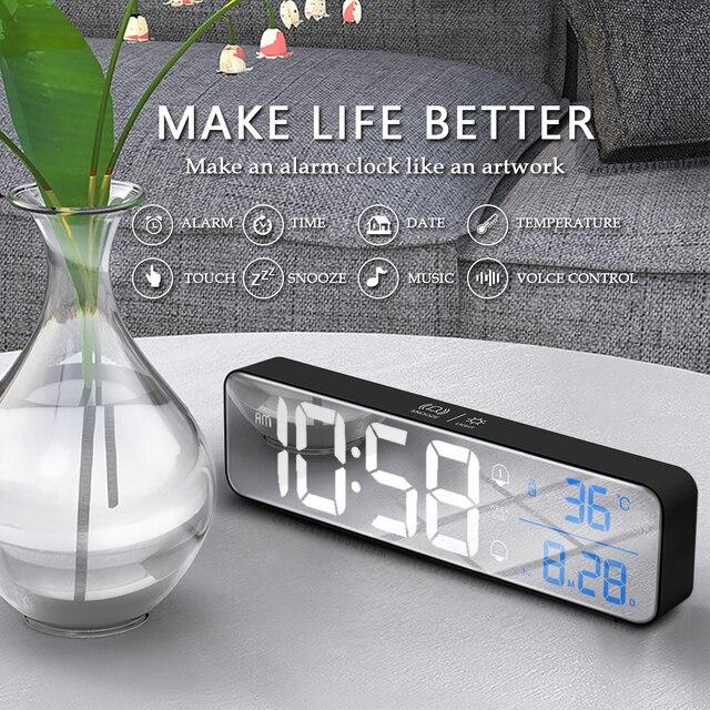 Music LED Digital Alarm Clock Temperature Date Display Desktop Mirror Clocks Home Table Decoration Electronic Clock 2000 mAh 4