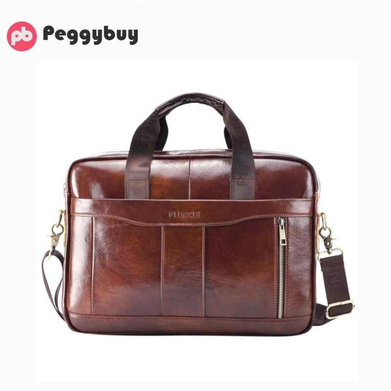 Genuine Leather Men Briefcase Laptop Shoulder Crossbody Bag Office Handbag Business Briefcases Man Office Handbags Classic Style