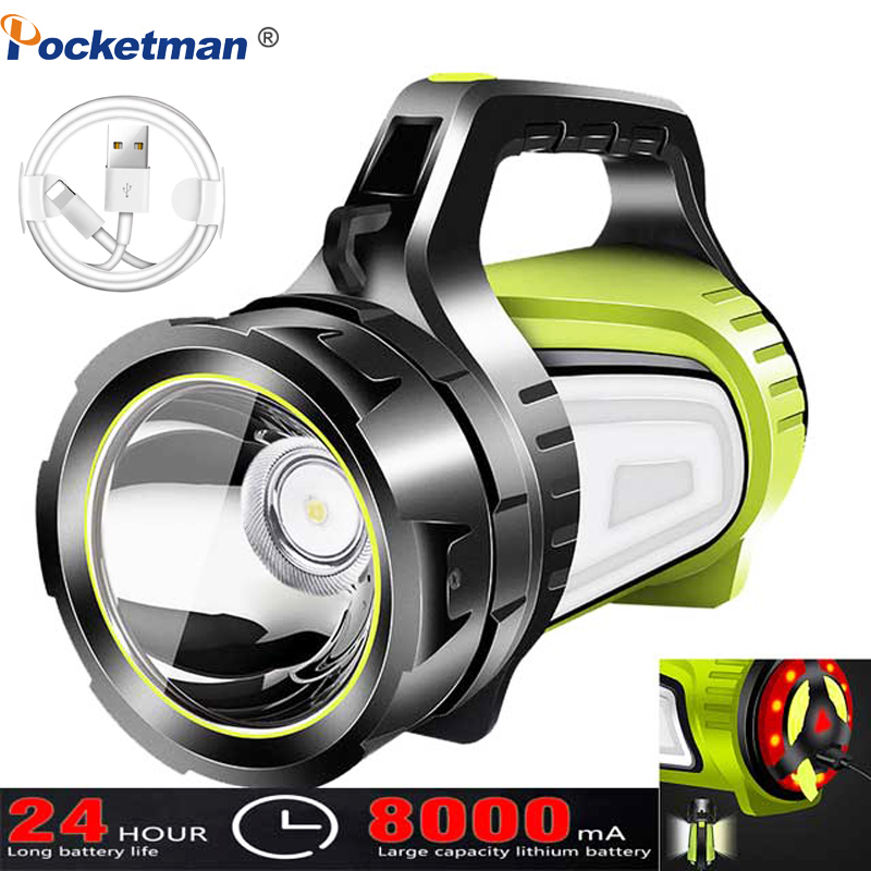 100 Вт Мощный светодиодный прожектор перезаряжаемый водонепроницаемый сверхдлинный фонарь в режиме ожидания с выходом USB