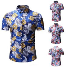 2019 Mens Summer Button Down Shirts Slim Fit Fashion Hawaiian Floral Print Short Sleeve Casual Shirts Homme Camisas(China)