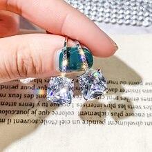 FYUAN Fashion Big Zircon Ciondola Gli Orecchini Bijoux Exquisite Quadrato di Cristallo Orecchini a pendaglio per Le Donne Orecchini Dichiarazione Regalo