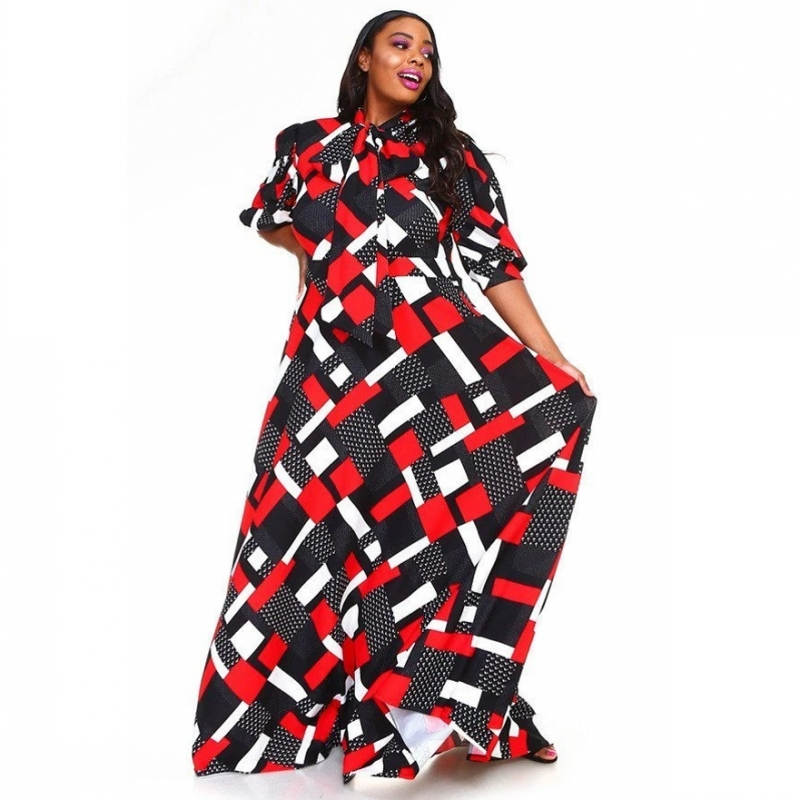 3XL Plus Size Africa Clothing Trendy Printed Long Sleeve Maxi Dress Women Spring Autumn Robe Party African Long Dress