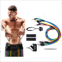 11Pcs/Set Latex Resistance Bands Gym Door Anchor Ankle Straps With Bag Kit Set Yoga Exercise Fitness Band Rubber Loop Tube Bands resistance band 11pc set with door anchor ankle straps foam handles