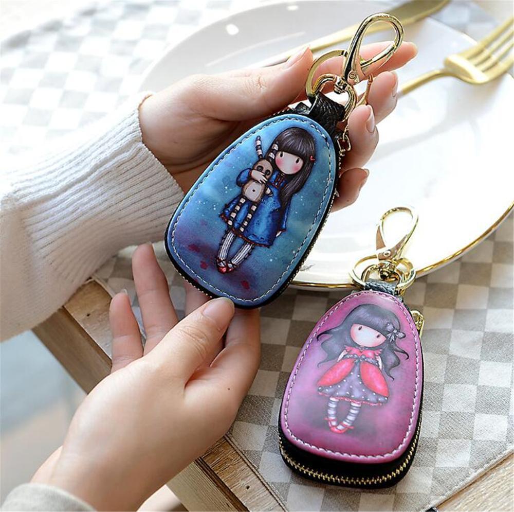 1pc au détail universel Auto clés cas Carton motif petits portefeuilles voitures clé Protection sacs hommes et femmes beaux détenteurs