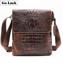 New Alligator Genuine Cow Leather Vintage Mens Messenger Bag Crossbody One Shoulder Casual&Business Flap Zippe For Ipad