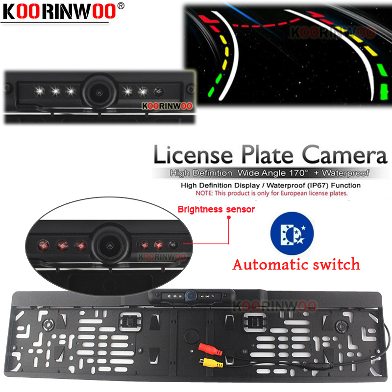 Koorinwoo Car License Plate Frame Intelligent Dynamic Trajectory Tracks Rear View Camera HD Auto Reverse Backup Park Assistance