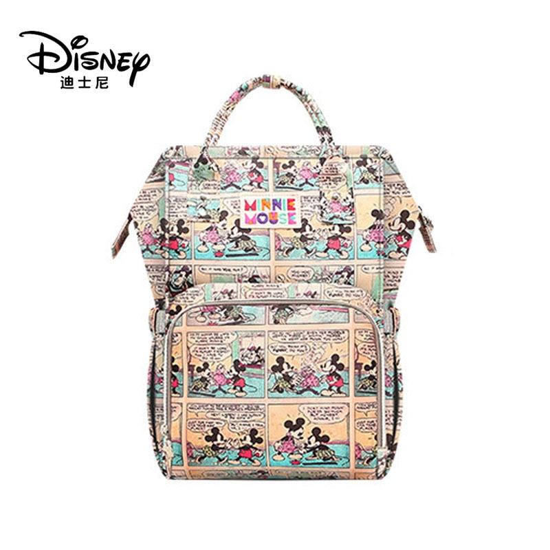 Disney Genuine Mummy Diaper Bag Maternity Bags Women Mickey Backpack Large Capacity Waterproof Lady Shoulder Hobos Bottle Warmer