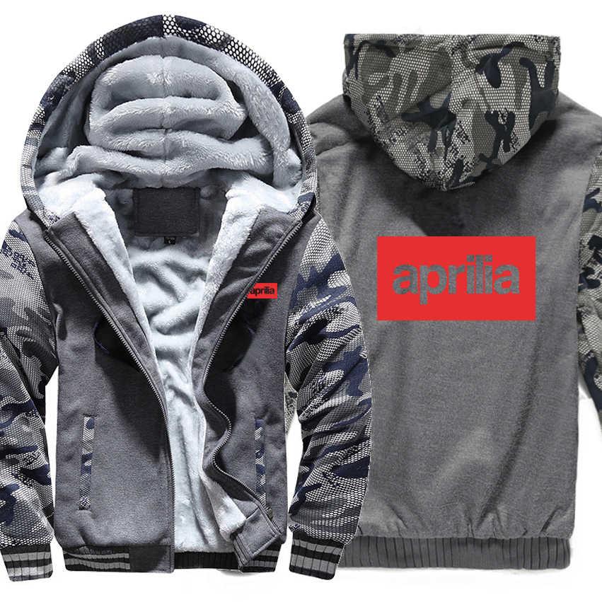 รถจักรยานยนต์ Aprilia Sweatshirt Camouflage เสื้อแจ็คเก็ต Hoody Zipper ฤดูหนาวขนแกะ Aprilia มอเตอร์ Hoodies