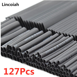 127Pcs Black Weatherproof Heat Shrink Sleeving Tubing Tube Assortment Kit Wrap Cable Electrical Connection Electrical Wire