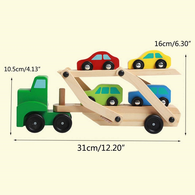 Baby Toys Montessori wooden Assembly Transport Truck Carrier Toys For Kids Learning Education 5pcs Cars Model Gift For Children in Diecasts Toy Vehicles from Toys Hobbies