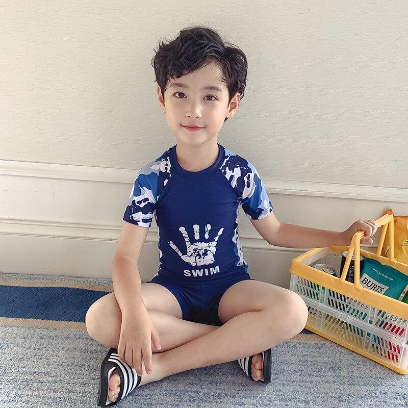KID'S Swimwear BOY'S Split Type Big Boy Cute Baby Teenager Students Boy Tour Bathing Suit Swimming Trunks Set