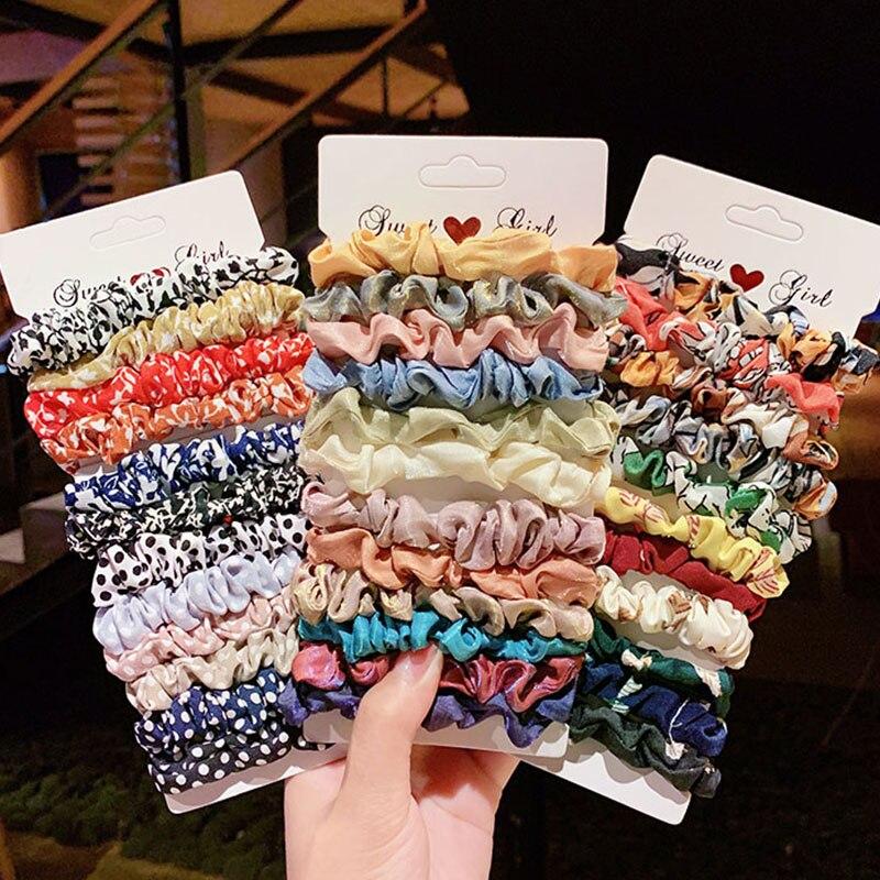 4/6 sztuk/zestaw 2020 kobiety elegancki nadruk kwiat Dot elastyczne gumki do włosów kucyk Holder Scrunchie guma pasmo modny akcesoria do włosów